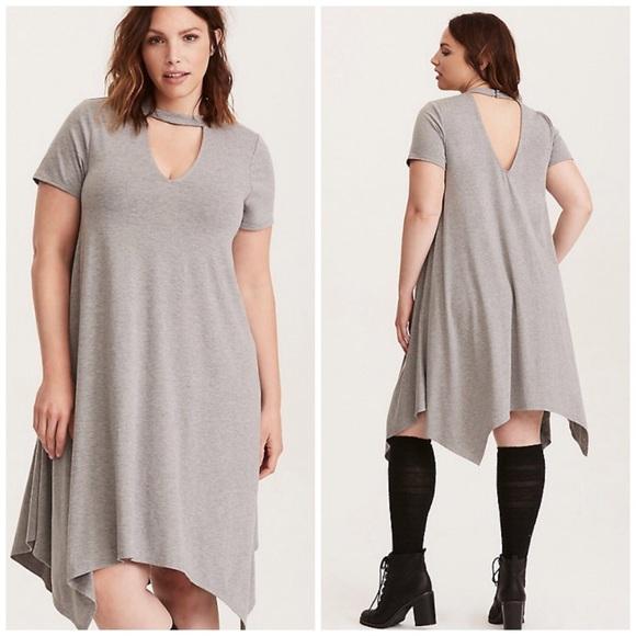 8f46f8d40a0 torrid Dresses   Grey Choker Cutout Trapeze Shirt Dress   Poshmark